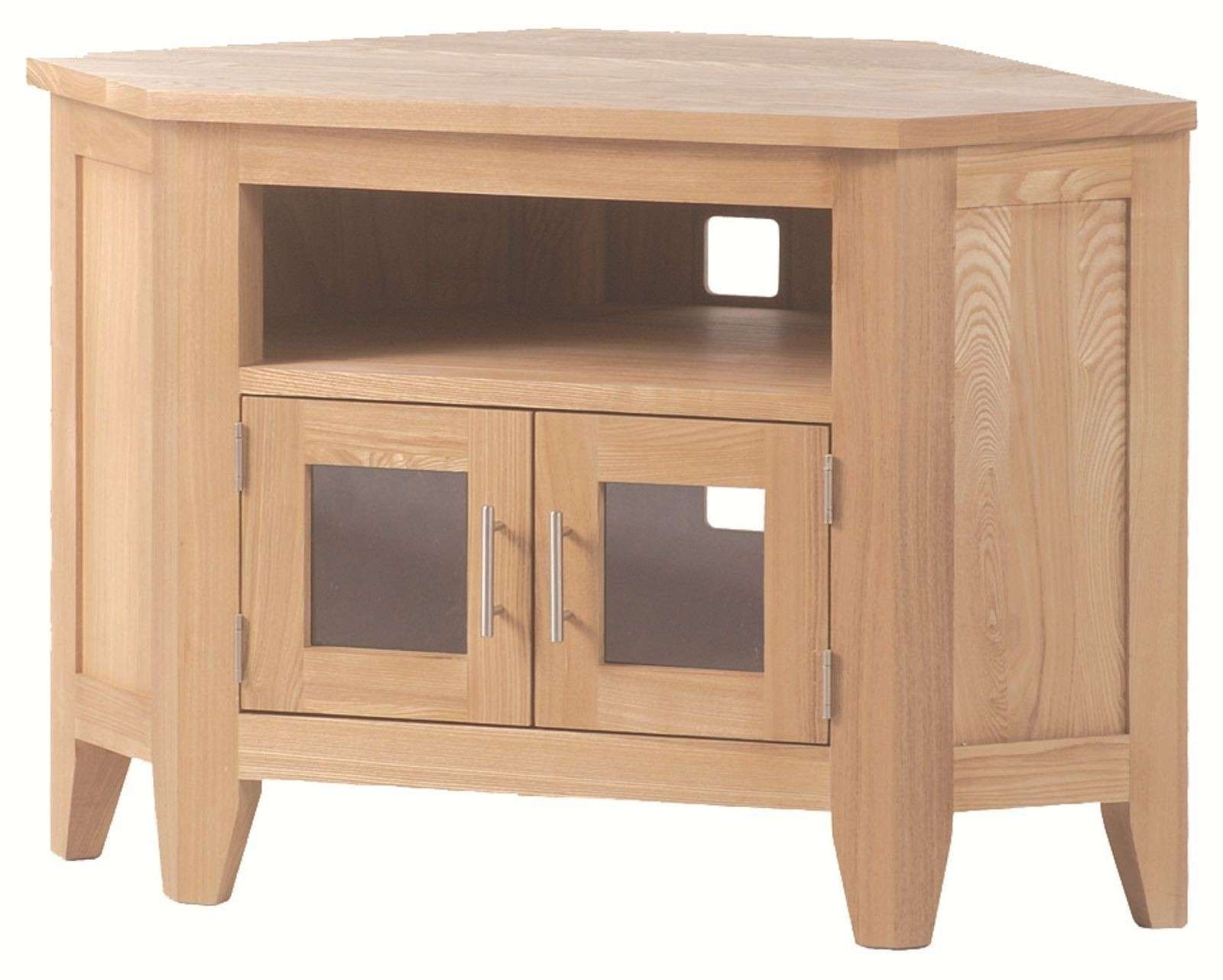Wooden Corner Tv Stand With Small Cabinet Doors And Silver Handle Throughout Small Corner Tv Cabinets (View 13 of 20)