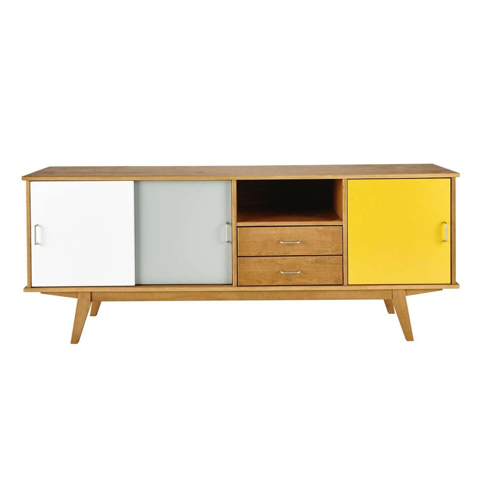 Wooden Vintage Sideboard In Yellow / Grey / White W 180cm Pertaining To Vintage Sideboards (View 13 of 20)