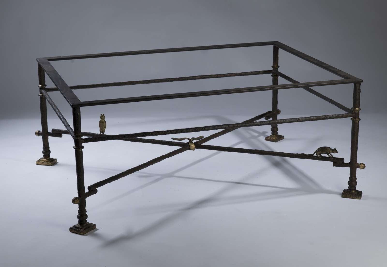 Wrought Iron Coffee Table In Brown Bronze, Distressed Gold Throughout Latest Iron Glass Coffee Table (View 11 of 20)