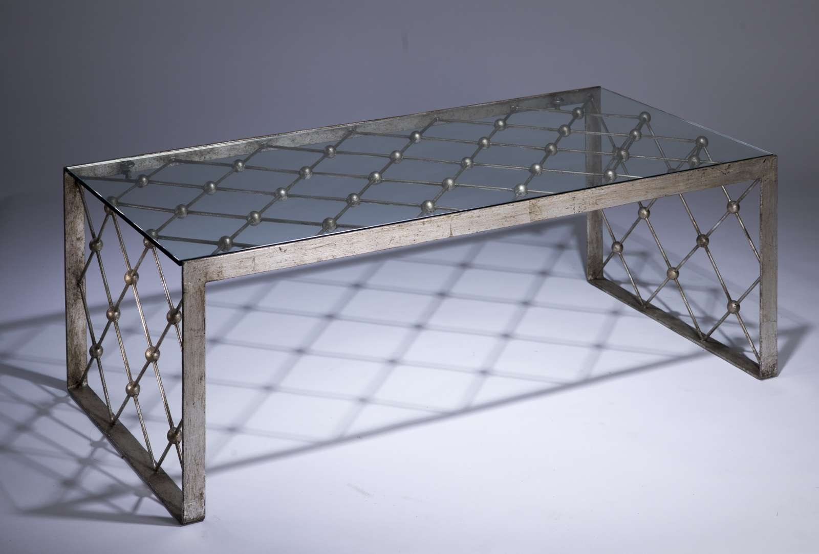 Wrought Iron Net Coffee Table In Distressed Silver Leaf Finish Regarding Most Popular Iron Glass Coffee Table (View 18 of 20)