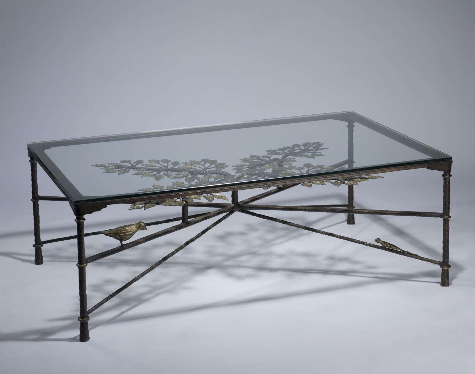 Wrought Iron ' Tree Of Life' Coffee Table In Brown Bronze Regarding Recent Bronze Coffee Table Glass Top (View 2 of 20)