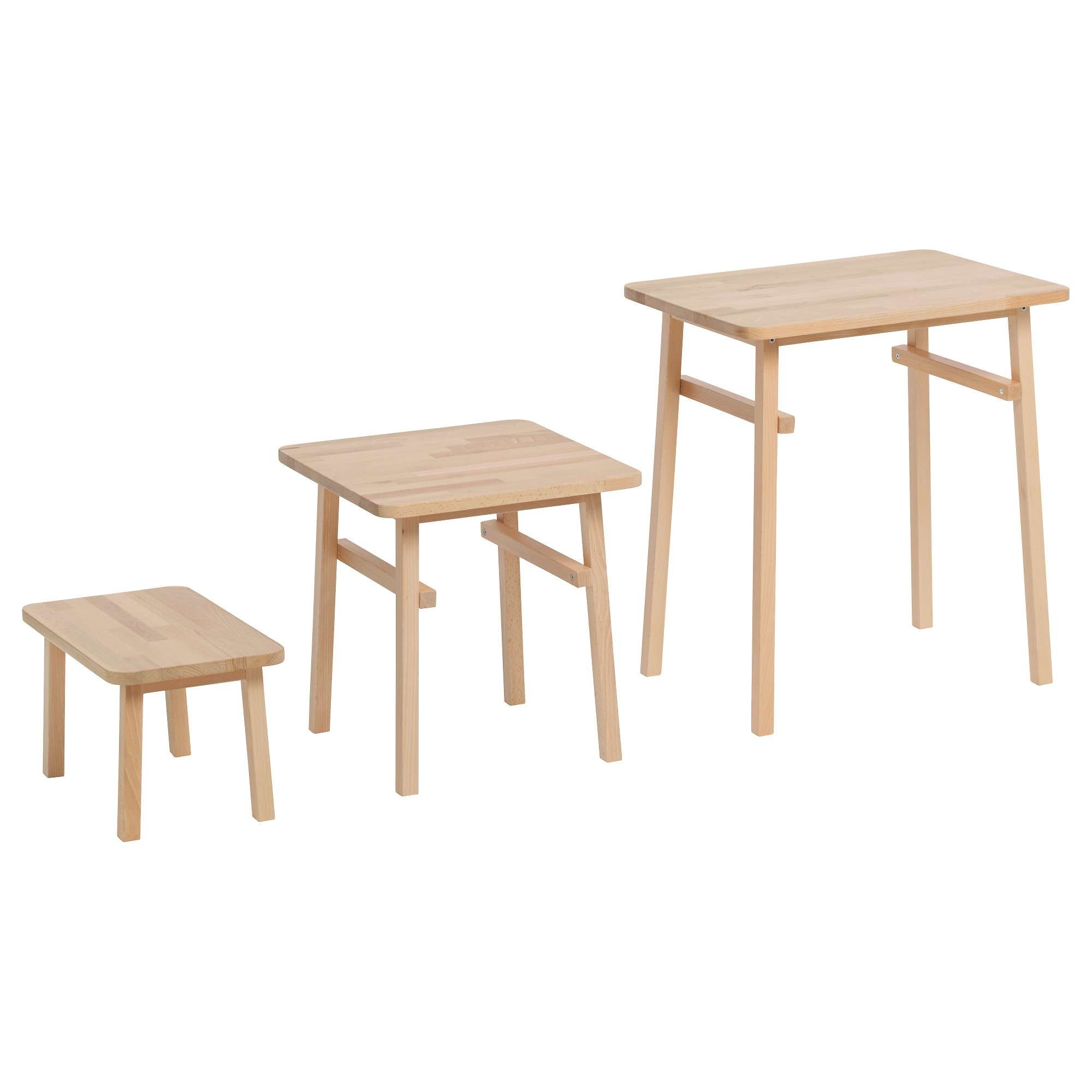 Ypperlig Nest Of Tables, Set Of 3 Beech – Ikea Inside Well Known Beech Coffee Tables (View 20 of 20)