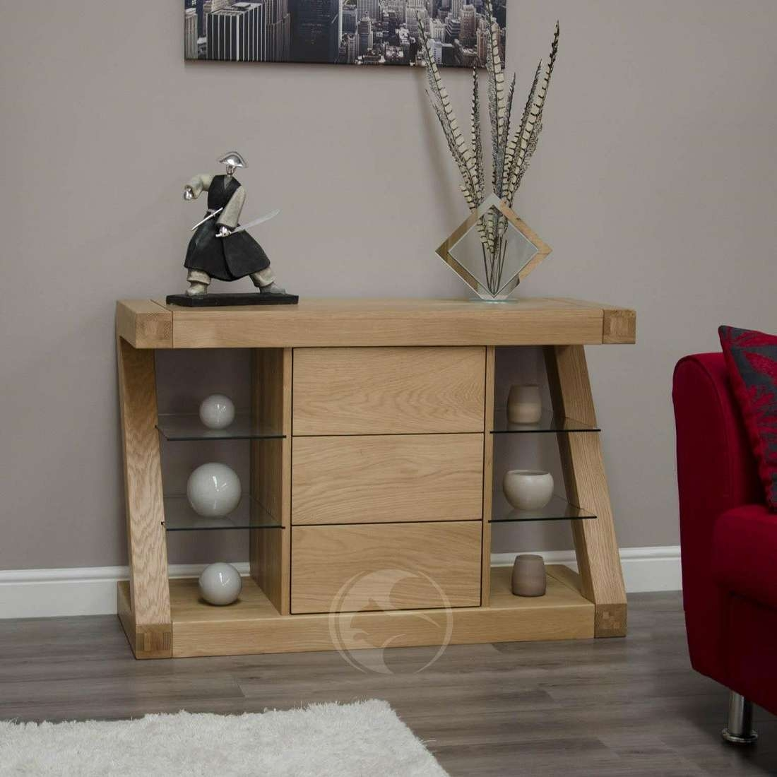 Z Shape Solid Oak Small Sideboard | Oak Furniture Uk With Regard To Small Sideboards (Gallery 8 of 20)