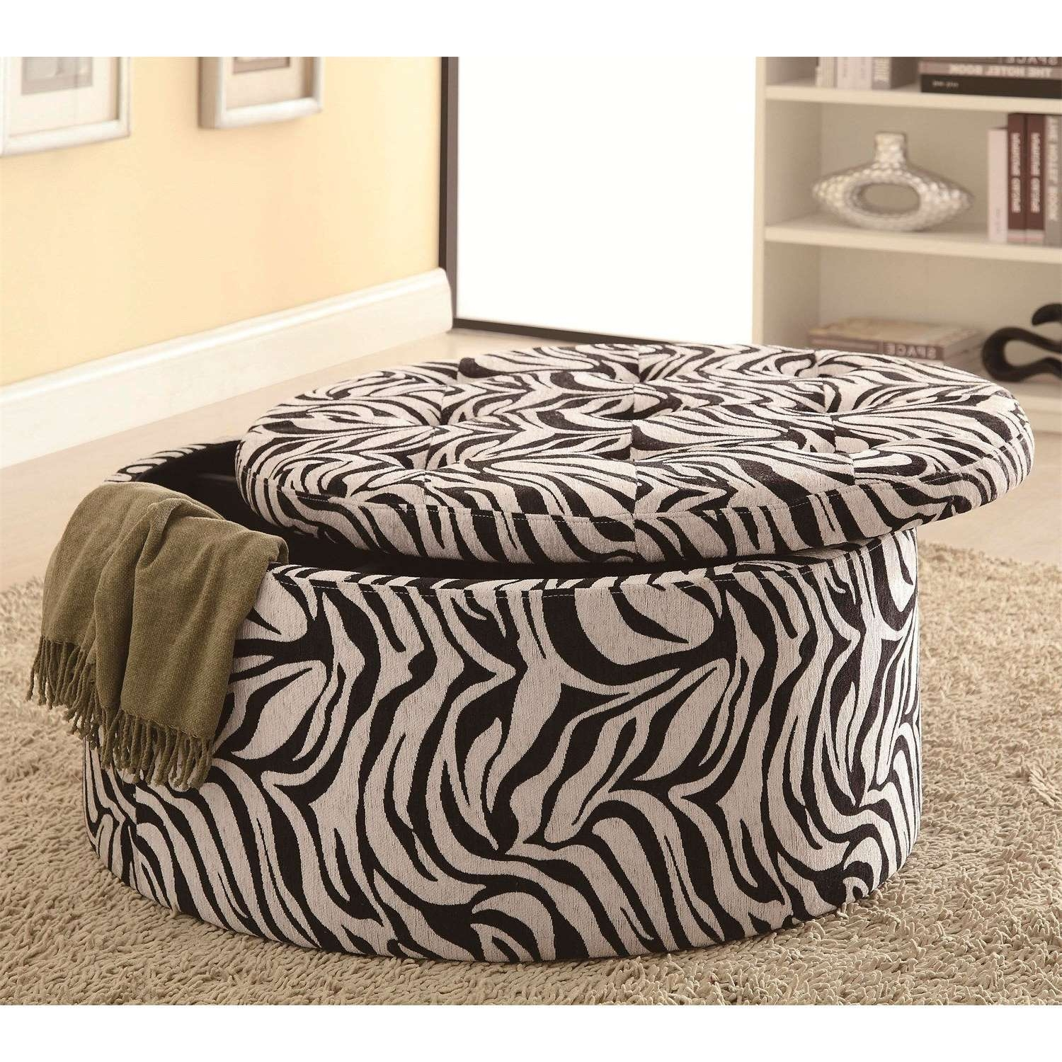 Zebra Print Ottoman, Round Jute Ottoman Round Fabric Ottoman Within Recent Animal Print Ottoman Coffee Tables (Gallery 19 of 20)