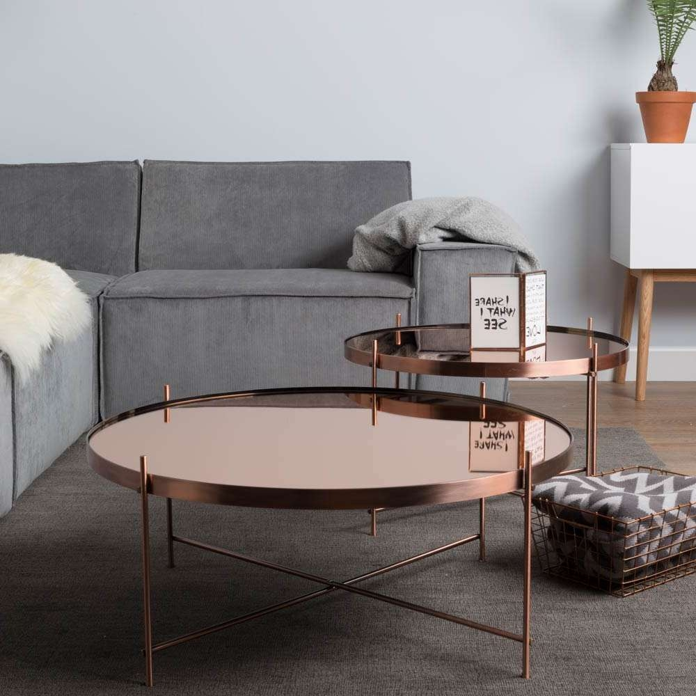 Zuiver Cupid Copper Round Mirrored Glass Coffee Table (Gallery 14 of 20)