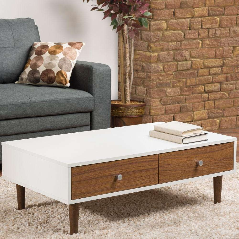 Zuo Saints Walnut And White Coffee Table 100145 – The Home Depot Within Best And Newest White And Brown Coffee Tables (View 14 of 20)