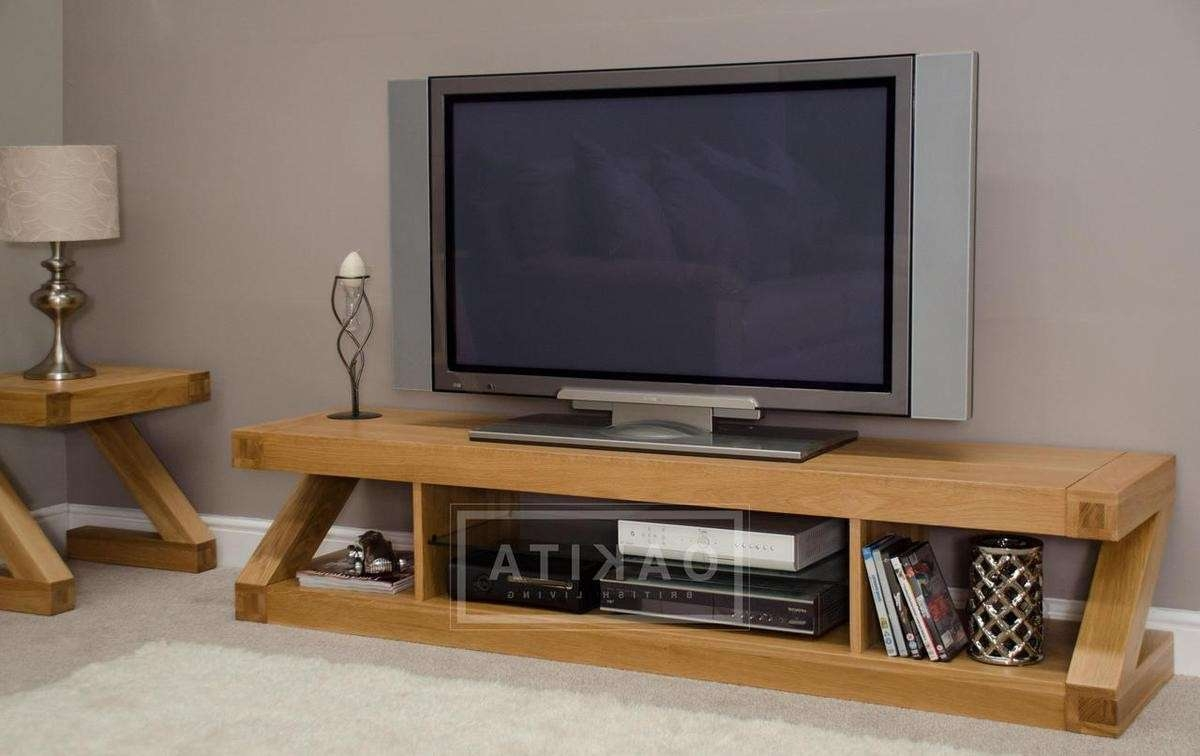 Zurich Oak Large Tv Stand – Oak Tv Stands & Entertainment Cabinets Regarding Large Tv Cabinets (View 4 of 20)