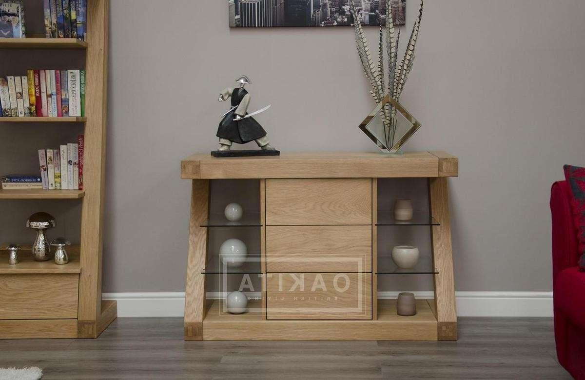 Zurich Small Oak Modern Sideboard – Oak Sideboards – Oak Furniture Throughout Small Narrow Sideboards (Gallery 20 of 20)