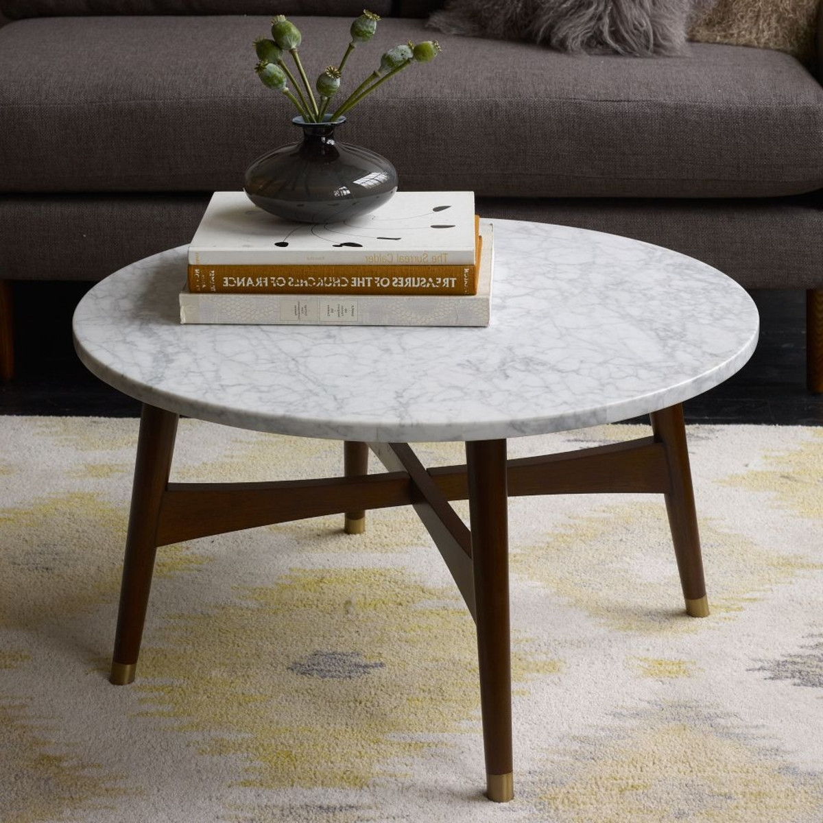2017 2 Tone Grey And White Marble Coffee Tables With Decor: Inspiring Marble Coffee Table For Living Room Furniture Ideas (View 1 of 20)