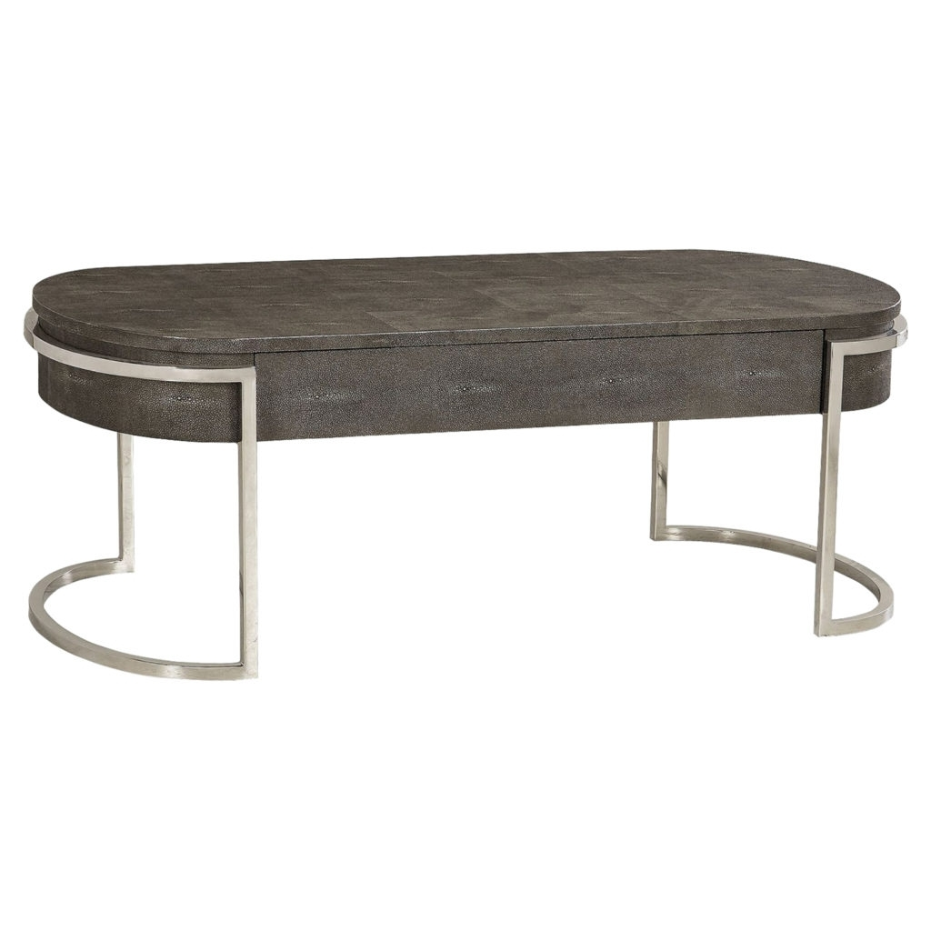 2017 Ashburn Cocktail Tables Within Ashburn Charcoal Shagreen Oval Nickel Coffee Table (View 7 of 20)