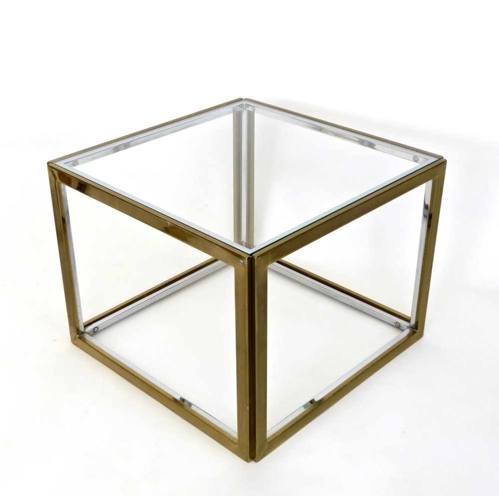 2017 Brass Iron Cube Tables For Maison Charles Et Fils French Chrome And Brass Coffee Table Two (View 15 of 20)