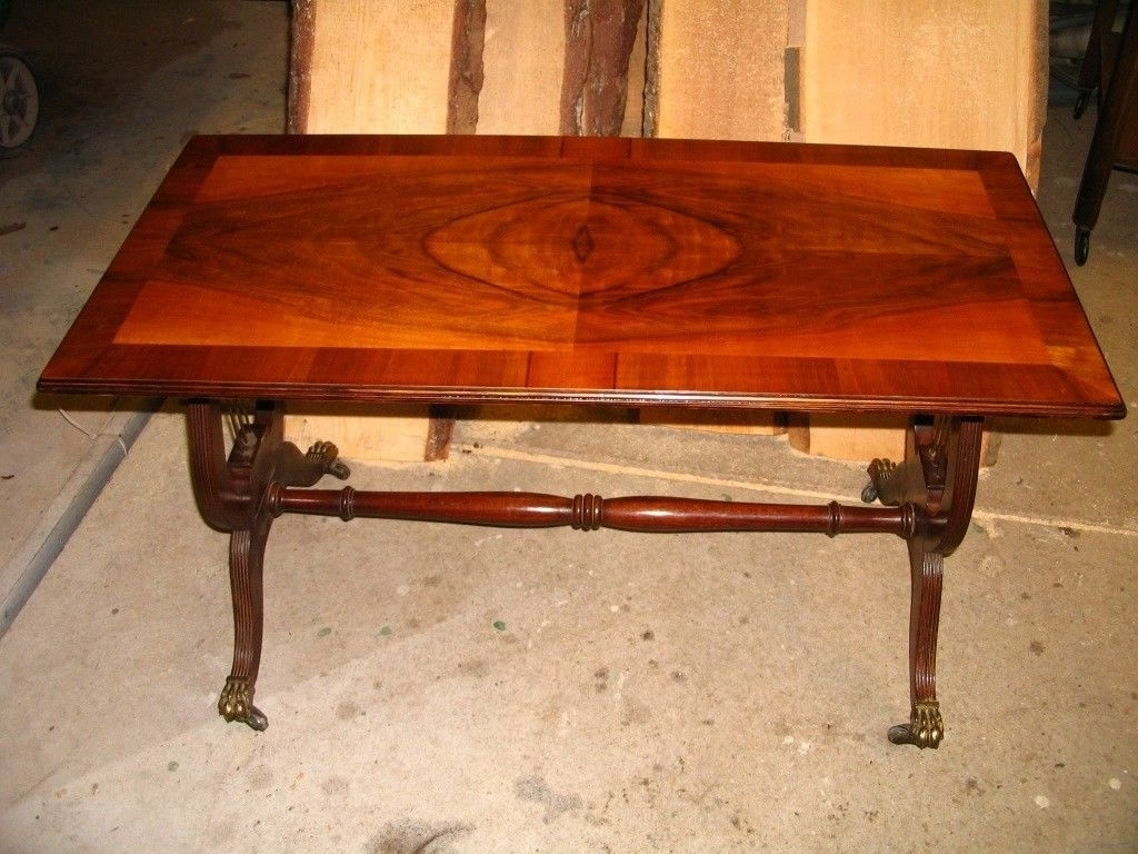 2017 Lyre Coffee Tables Pertaining To Old Coffee Table, Vintage Retro Mahogany Lyre Pedestal / Base Table (View 2 of 20)