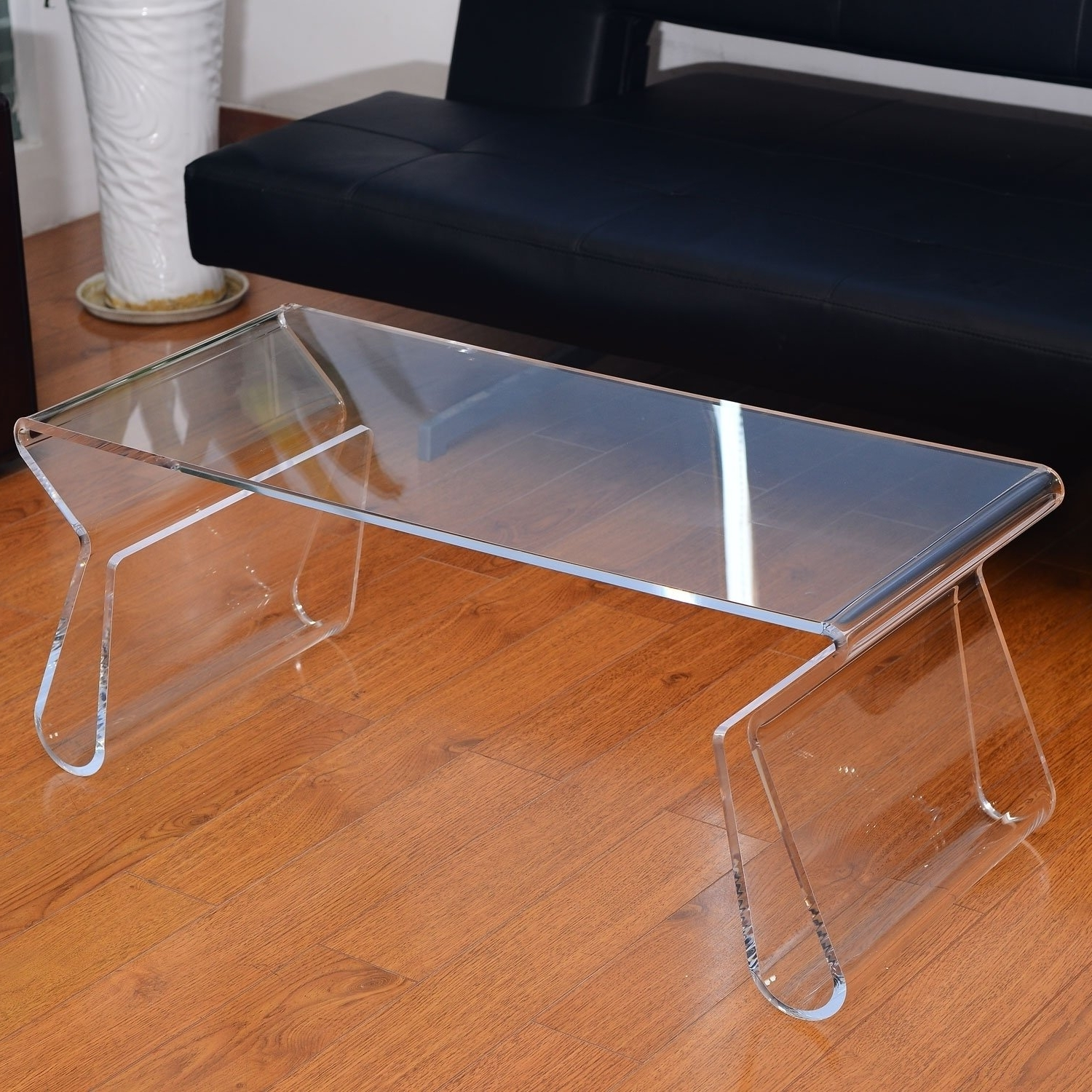 "2017 Modern Acrylic Coffee Tables Within Shop Homcom 38"" Modern Acrylic Coffee Table – Free Shipping Today (View 1 of 20)"
