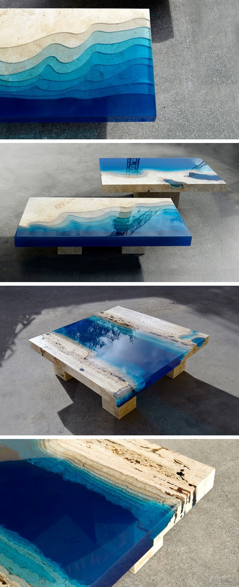 2017 Moraga Barrel Coffee Tables In New Marble And Resin Lagoon Coffee Tablesalexandre Chapelin (View 1 of 20)