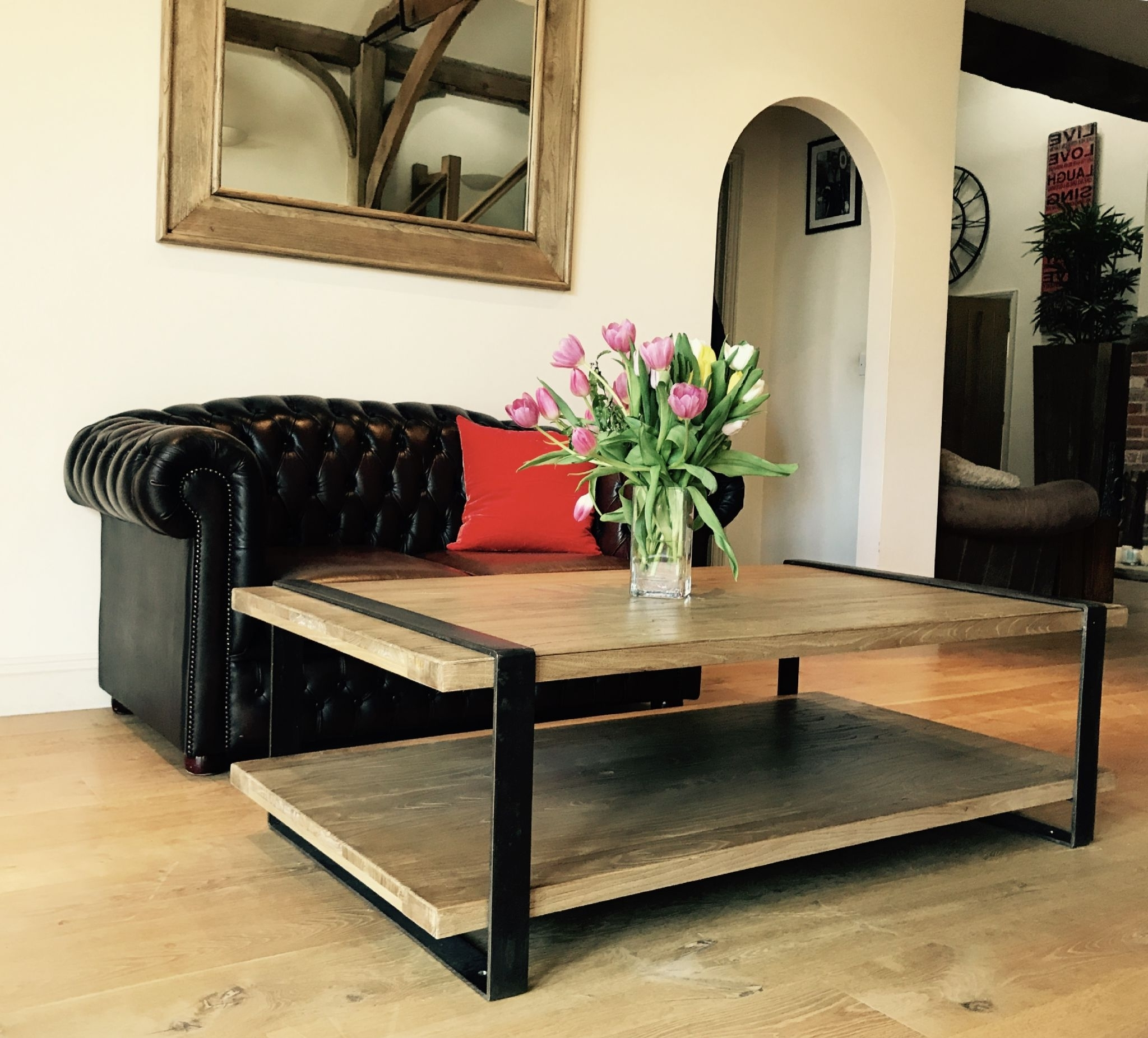 2017 Reclaimed Elm Iron Coffee Tables Pertaining To Reclaimed Elm And Iron Coffee Table (View 13 of 20)