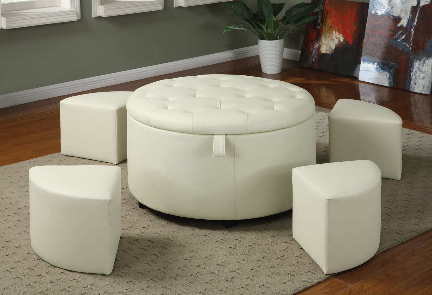 2017 Round Button Tufted Coffee Tables Pertaining To Saving Small Spaces Living Room Design Using White Round Leather (View 11 of 20)