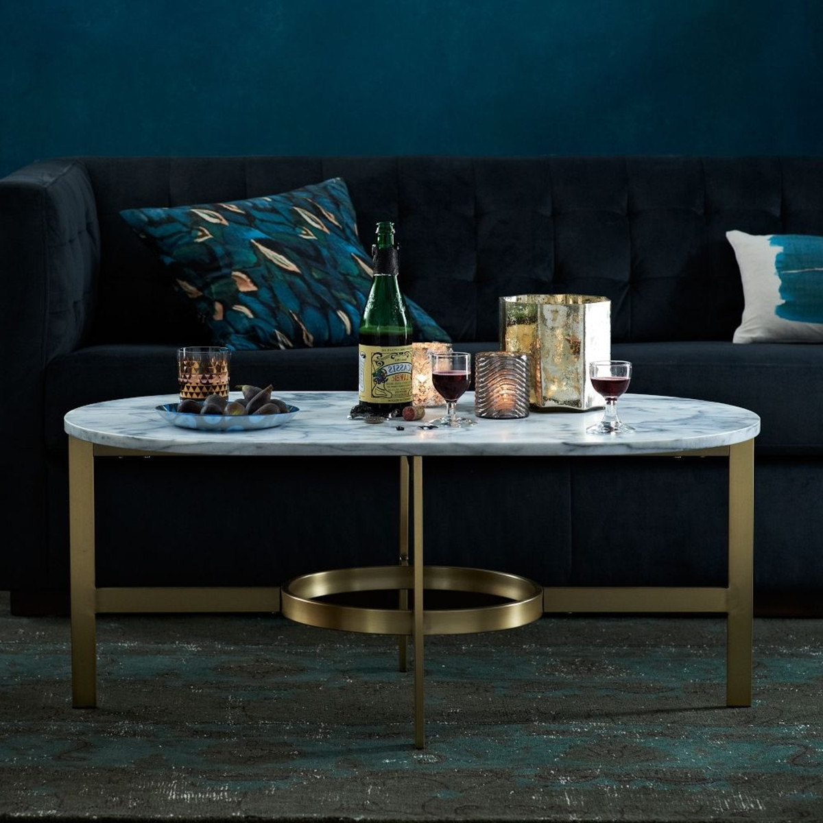 2017 Slab Large Marble Coffee Tables With Brass Base With Save Or Splurge: Brass And Glass Coffee Tables (View 1 of 20)
