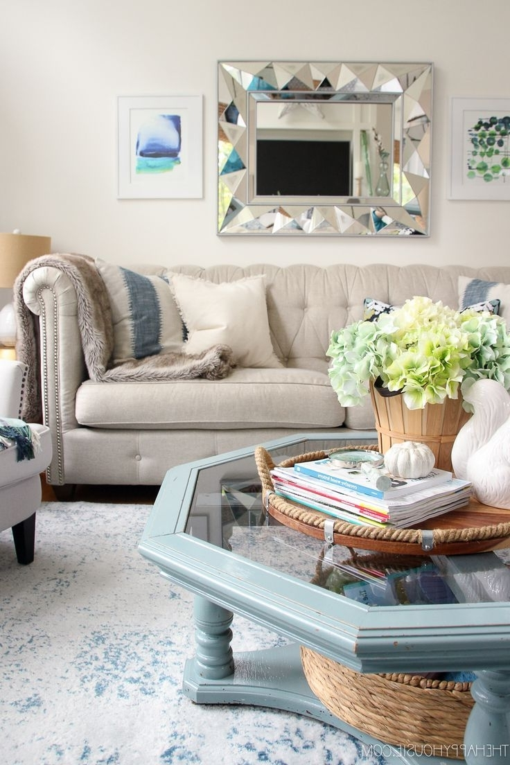 2018 Autumn Cocktail Tables With Casters Throughout Blue & Green Fall Decor Home Tour In  (View 1 of 20)