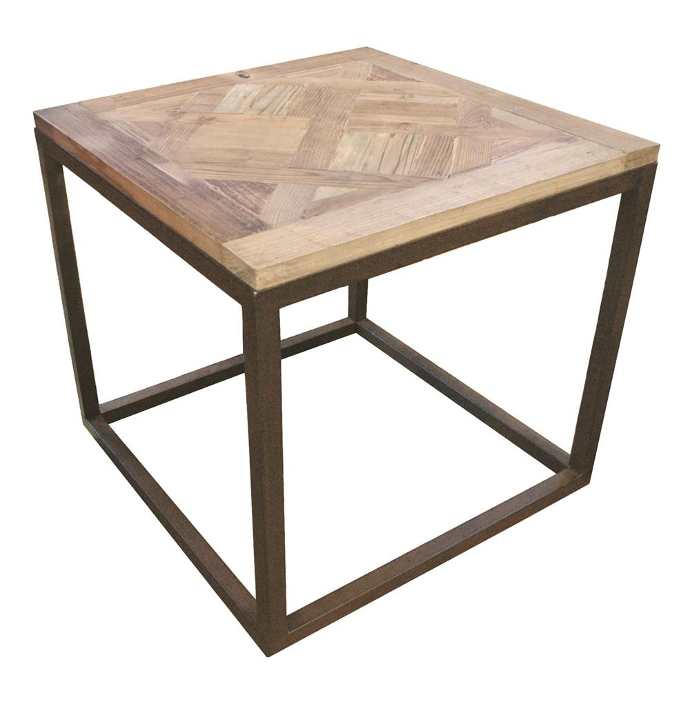 2018 Parquet Coffee Tables Intended For Gramercy Modern Rustic Reclaimed Parquet Wood Iron Side Table (View 1 of 20)
