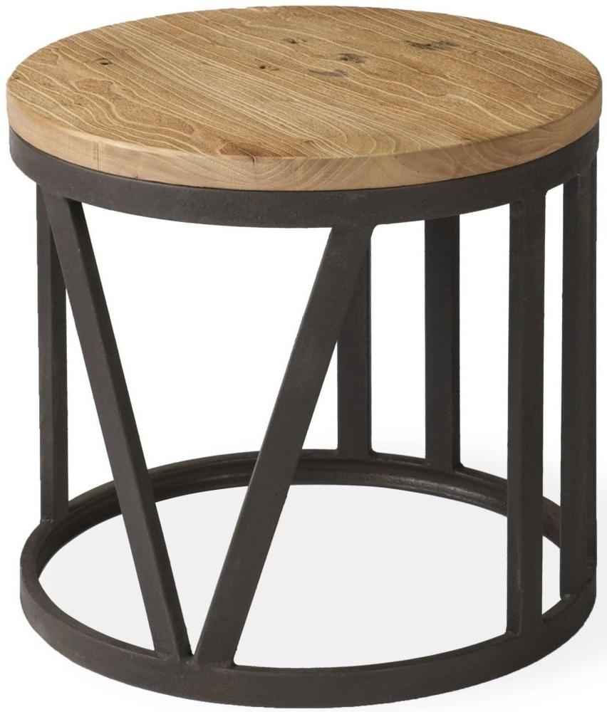 2018 Reclaimed Elm Iron Coffee Tables Regarding Ives Rustic Reclaimed Elm Iron Frame Small Coffee Table (View 17 of 20)