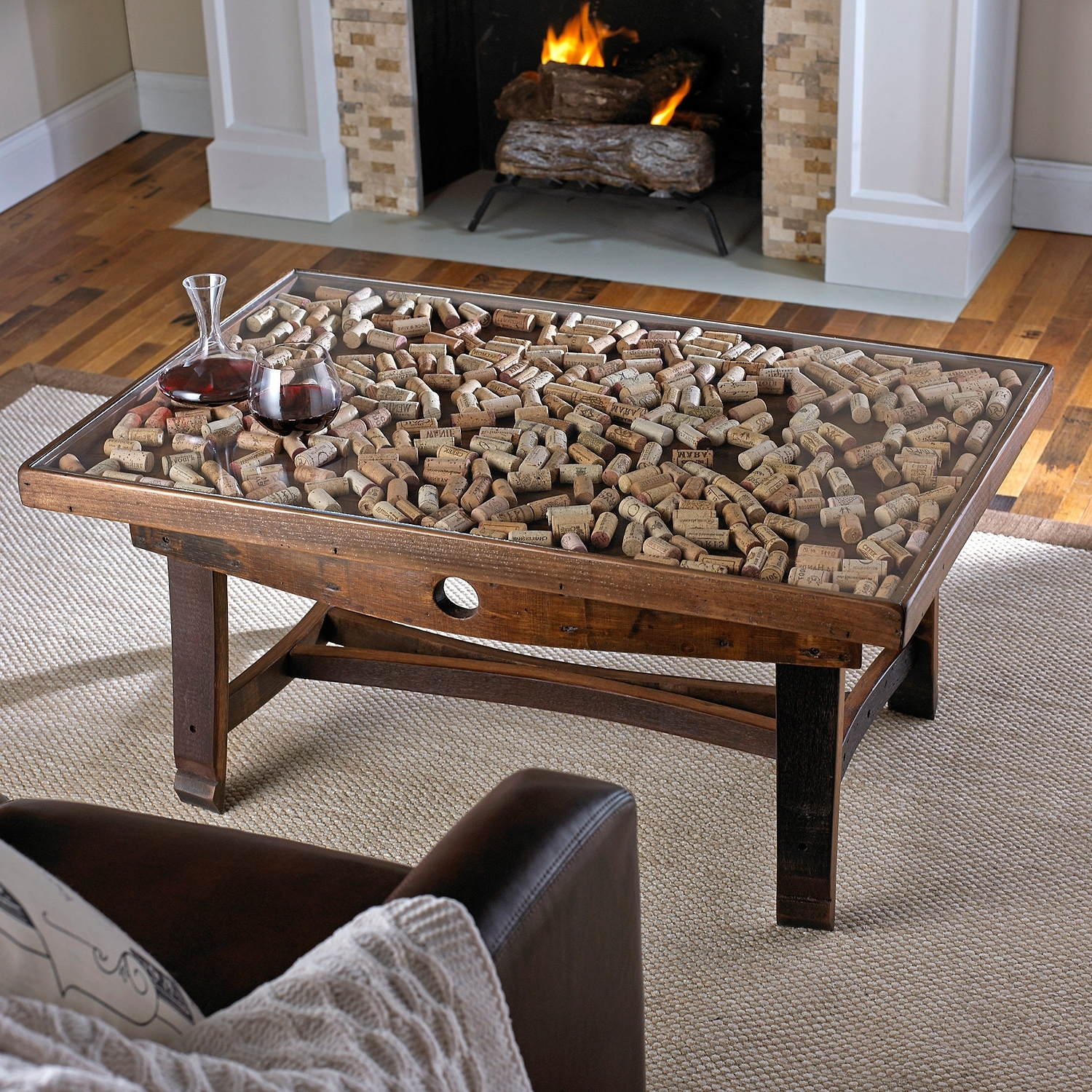 2018 Rectangular Barbox Coffee Tables With Collector's Display Top Coffee Table With Barrel Stave Legs – Wine (View 2 of 20)