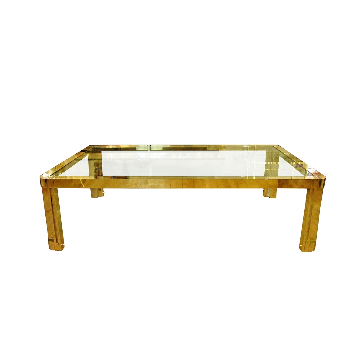 2018 Rectangular Coffee Tables With Brass Legs Regarding Large Rectangular Brass And Glass Coffee Table With Incised Design (View 5 of 20)