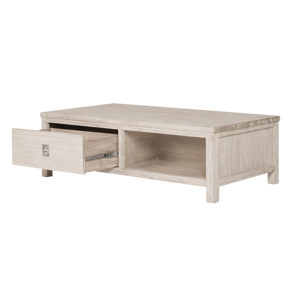 2018 White Wash 2 Drawer/1 Door Coffee Tables Intended For Cancun Coffee (View 7 of 20)