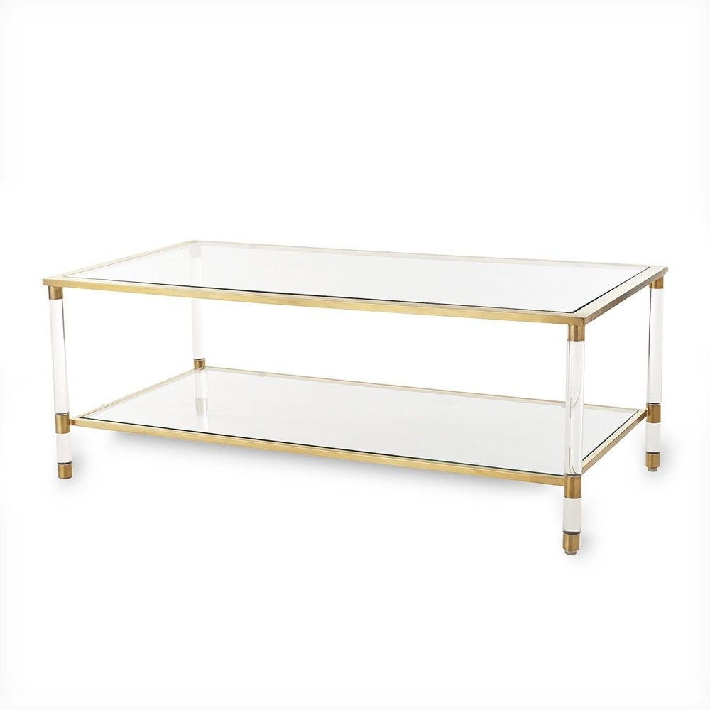 Acrylic, Glass And Brass Coffee Table (Gallery 5 of 20)