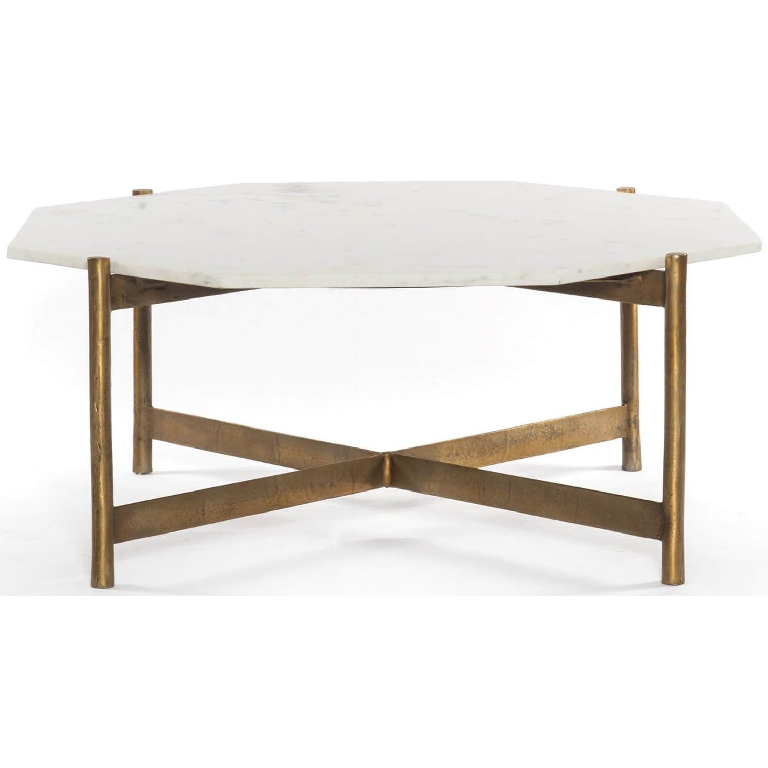 Adair Coffee Table, Raw Brass – Coffee Tables – Accent Tables Throughout Trendy Slab Large Marble Coffee Tables With Brass Base (View 2 of 20)
