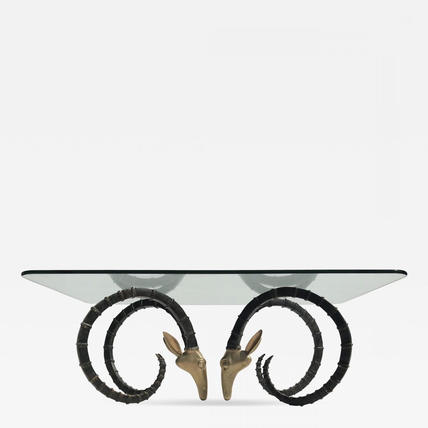 Alain Chervet – Brass Ibex Or Ram Head Coffee Table Regarding 2018 Cacti Brass Coffee Tables (View 1 of 20)