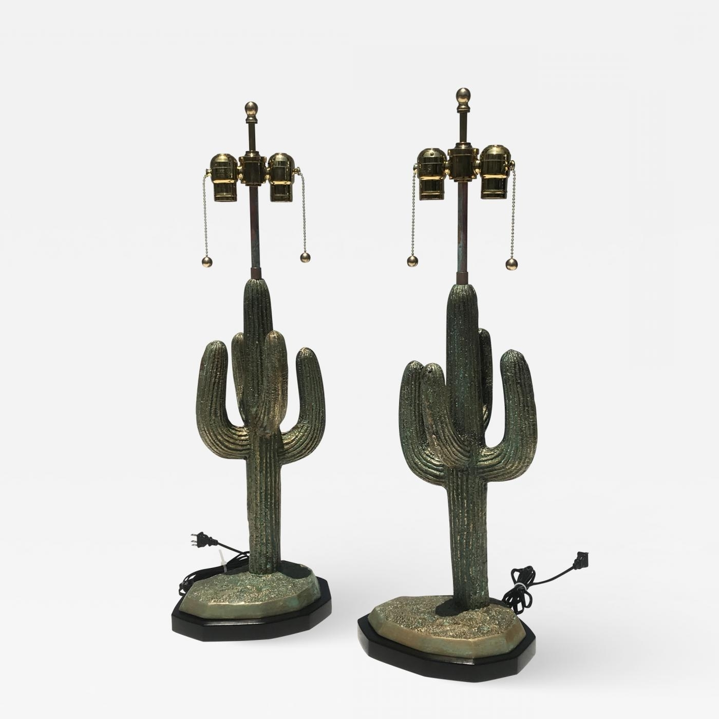 Alain Chervet – Pair Brass Cactus Lamps In Verdigris Patina With 2017 Cacti Brass Coffee Tables (View 2 of 20)