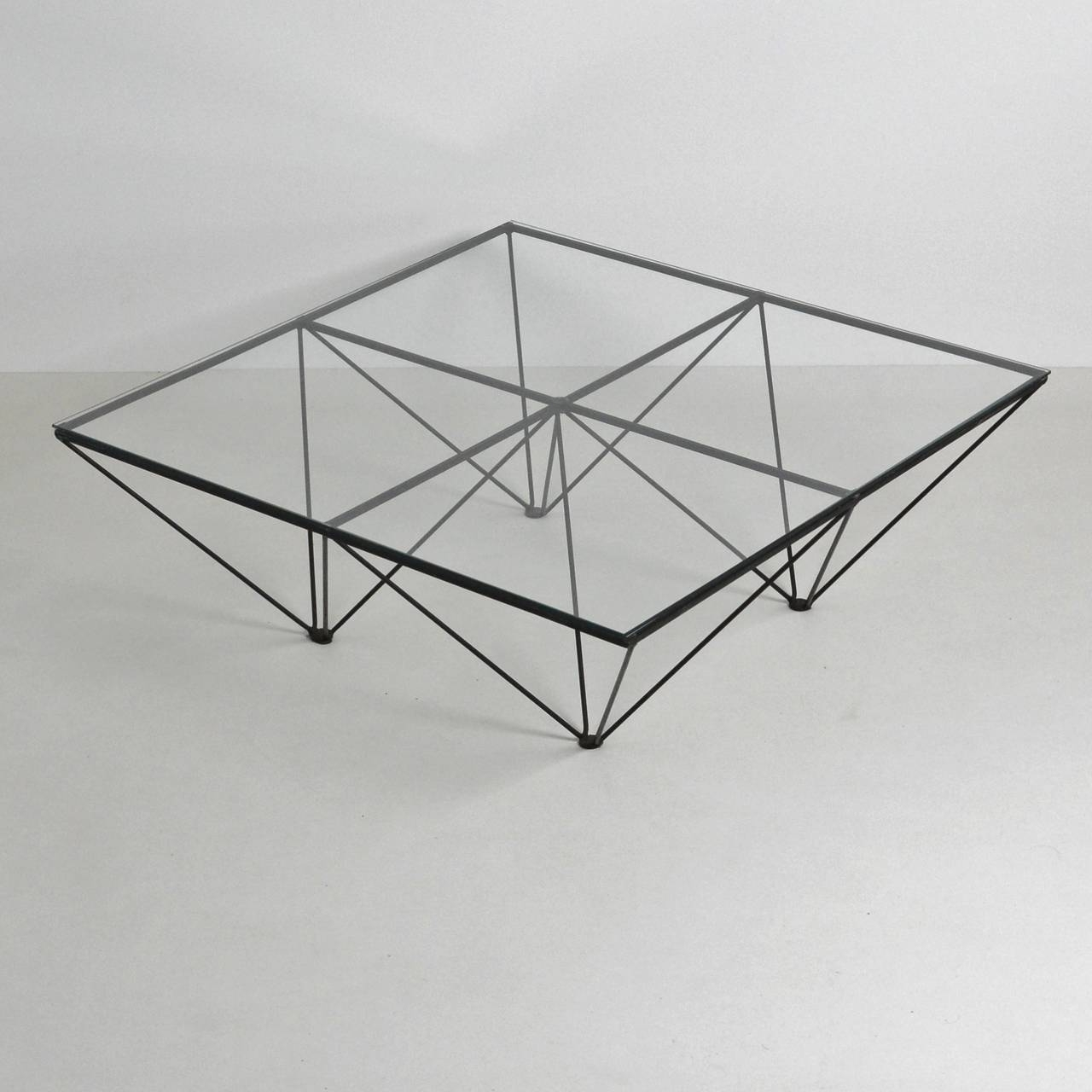 Alanda Style Geometric Glass Wire Framed Coffee Table At 1Stdibs With Widely Used Black Wire Coffee Tables (View 2 of 20)