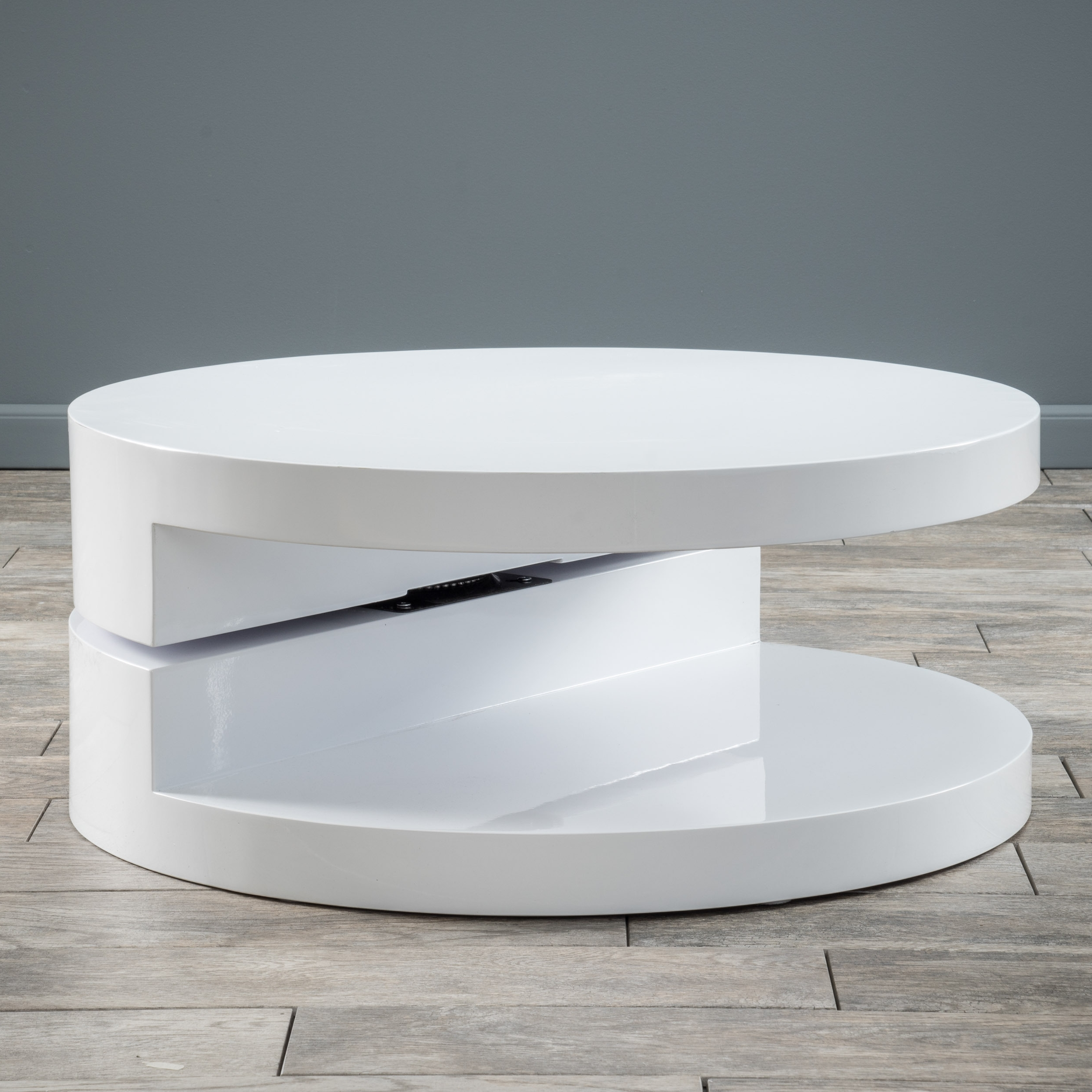 Alluring White Round Table Wood Material Glossy Finish Coffee Table With Fashionable Spin Rotating Coffee Tables (View 3 of 20)