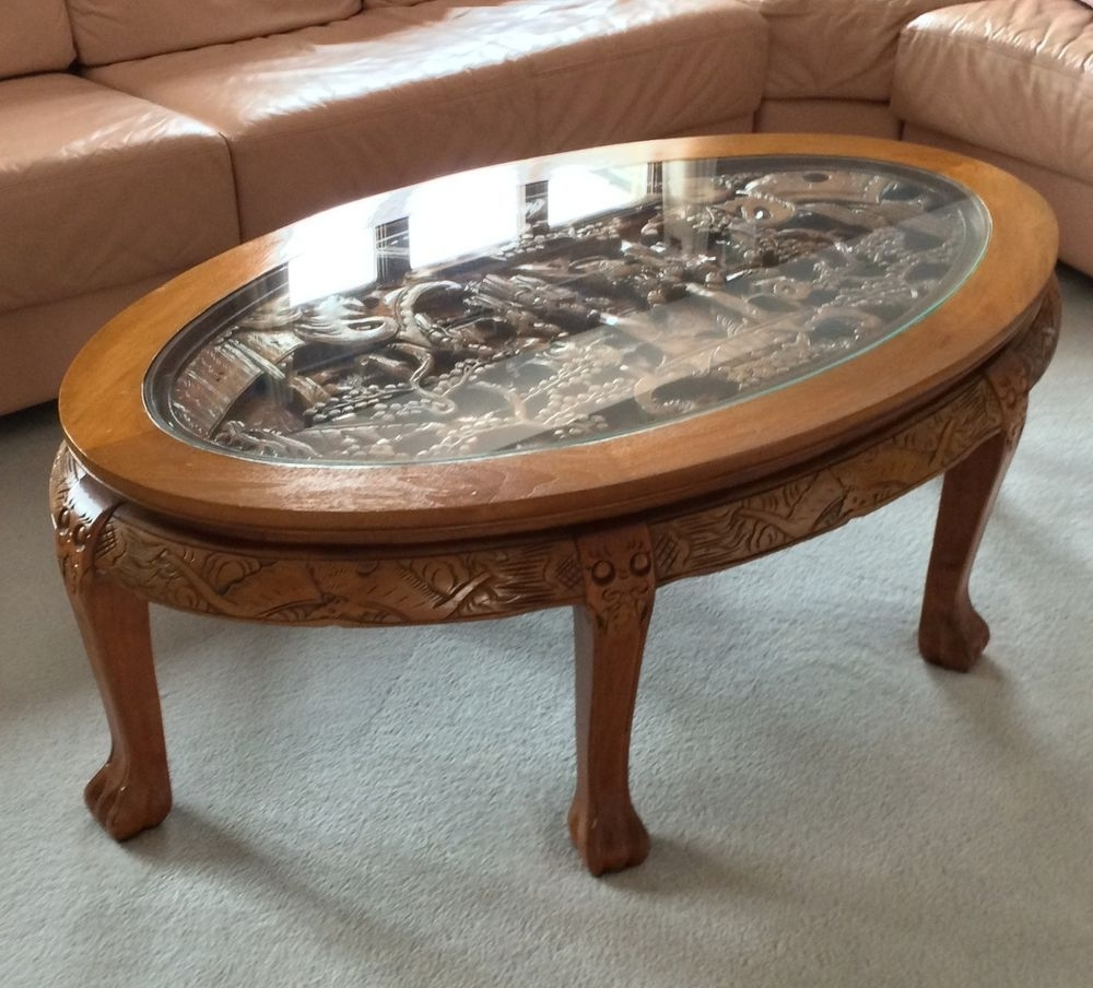 Amazing Hand Carved Chinese Coffee Table With Glass Top ,great Intended For Well Known Large Scale Chinese Farmhouse Coffee Tables (Gallery 1 of 20)