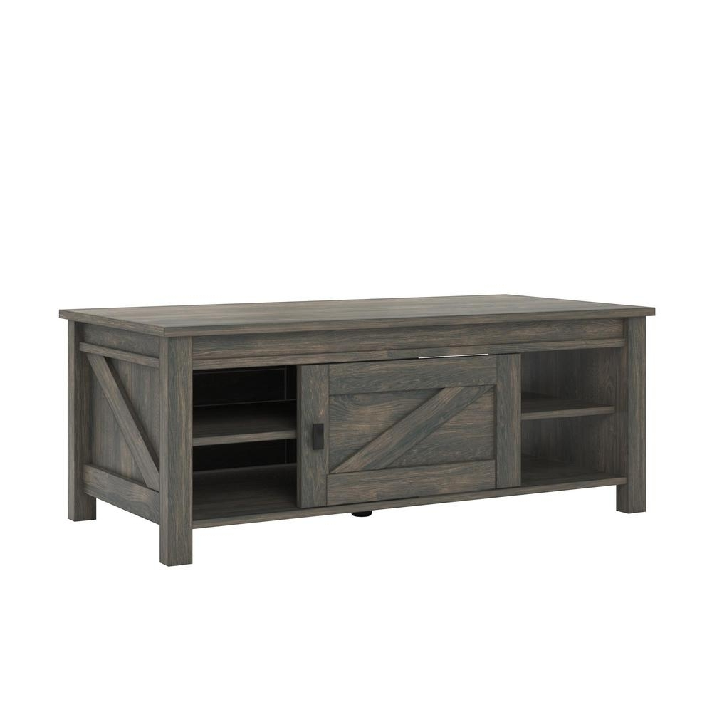 Ameriwood Home Brownwood Weathered Oak Storage Coffee Table Hd72004 Pertaining To Widely Used Chiseled Edge Coffee Tables (View 16 of 20)