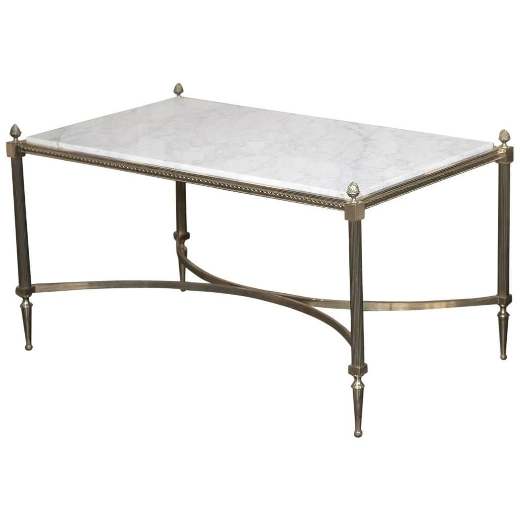 Antique French Louis Xvi Maison Jansen Style Bronze Carrara Marble Pertaining To Widely Used Element Ivory Rectangular Coffee Tables (Gallery 11 of 20)