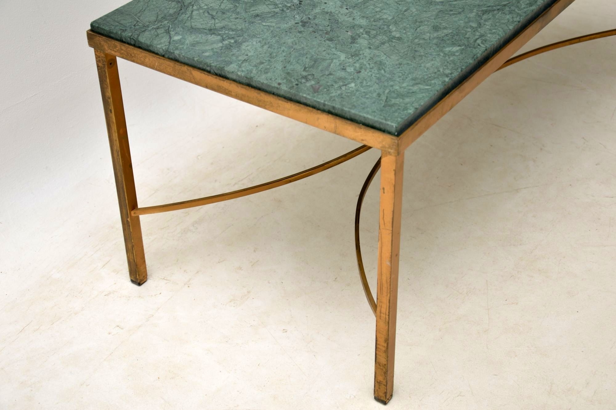 Antique French Marble & Brass Coffee Table (View 4 of 20)