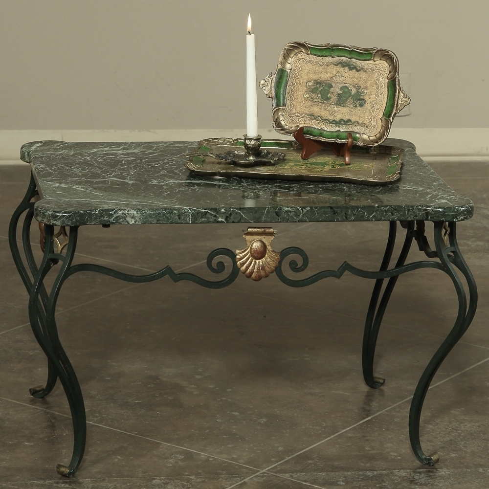 Antique Italian Wrought Iron Marble Top Coffee Table – Inessa Within Most Recently Released Iron Marble Coffee Tables (View 2 of 20)