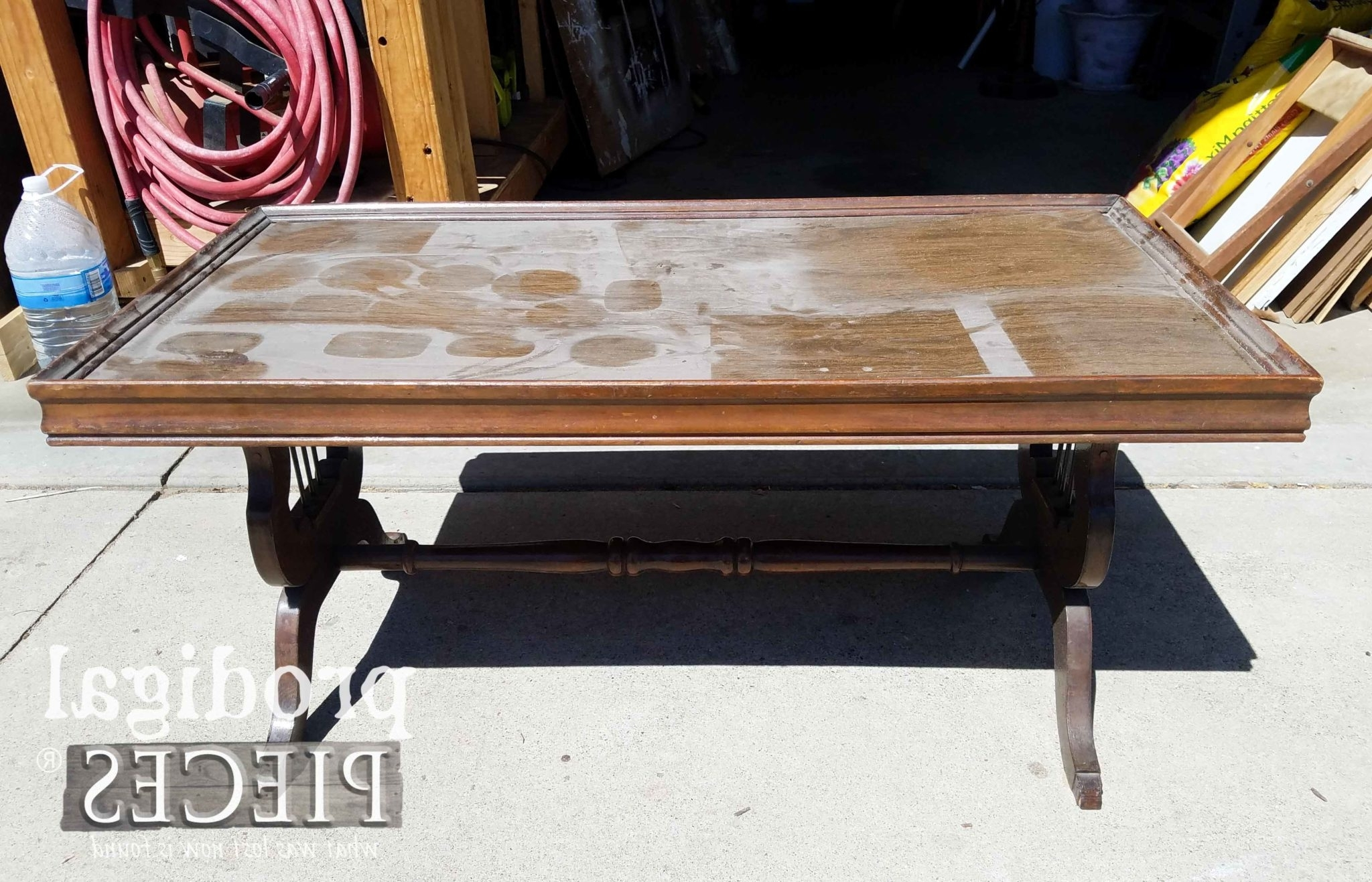 Antique Lyre Coffee Table Rescued & Restored – Prodigal Pieces Inside 2017 Lyre Coffee Tables (View 3 of 20)