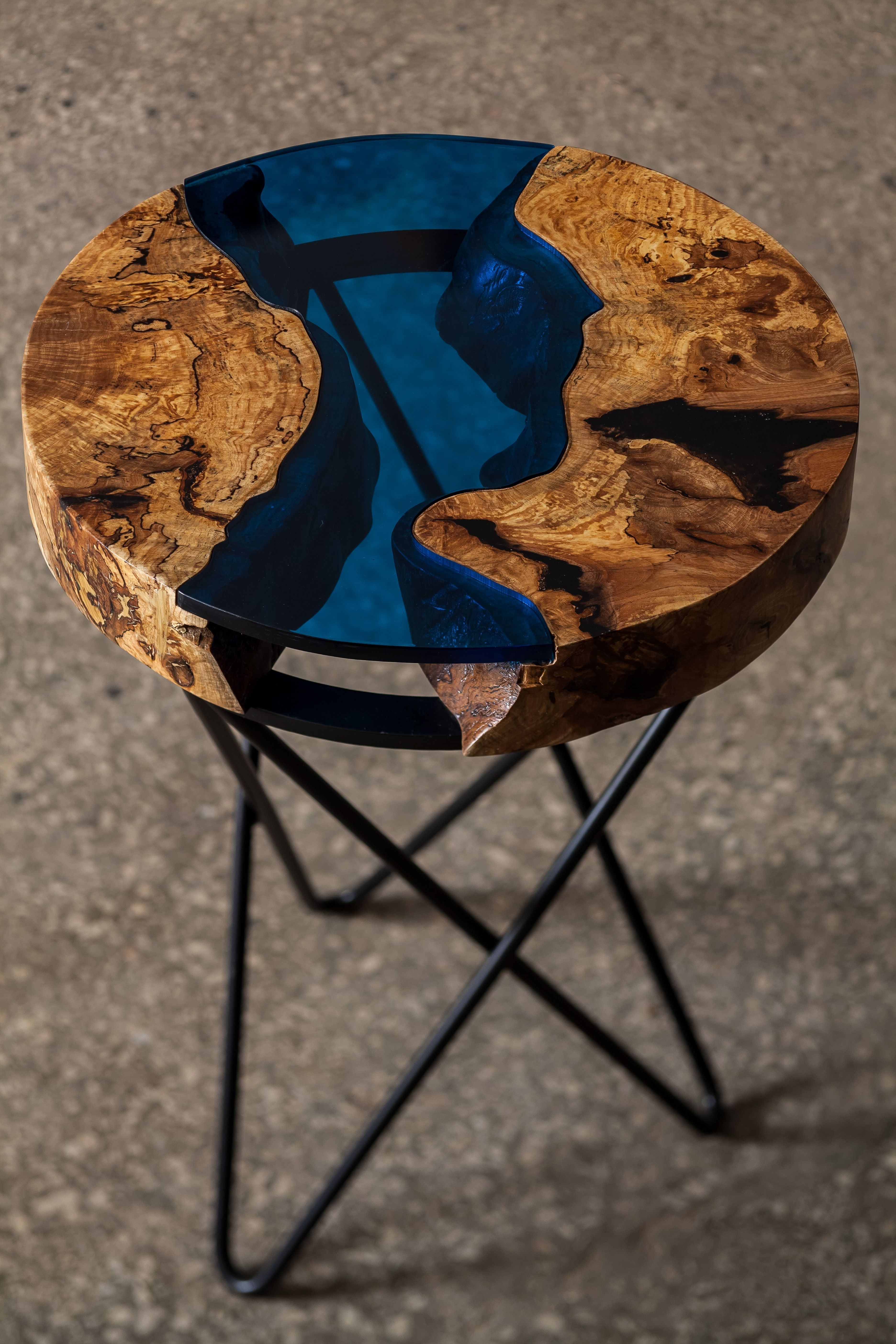 Aqua Side Table, Made From Ash Tree And Blue Acrylic, Cracks Filled Pertaining To Most Recently Released Stately Acrylic Coffee Tables (View 3 of 20)