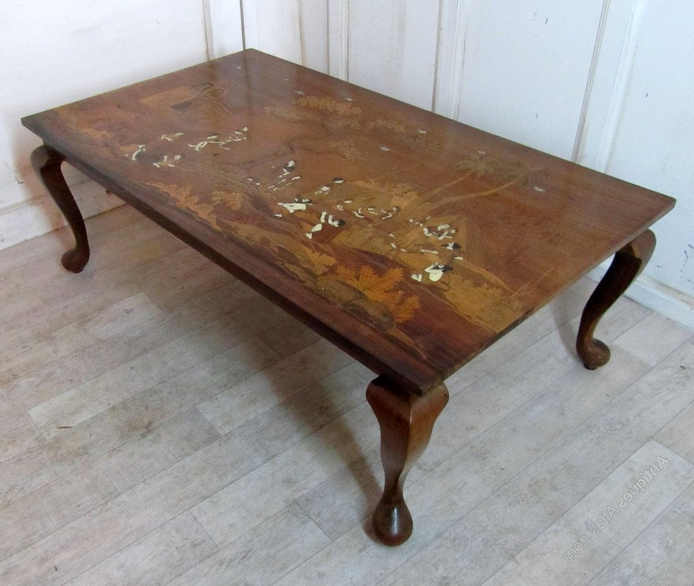 Art Deco Inlaid Coffee Table In An Indian Theme – Antiques Atlas Pertaining To Popular Antiqued Art Deco Coffee Tables (Gallery 9 of 20)