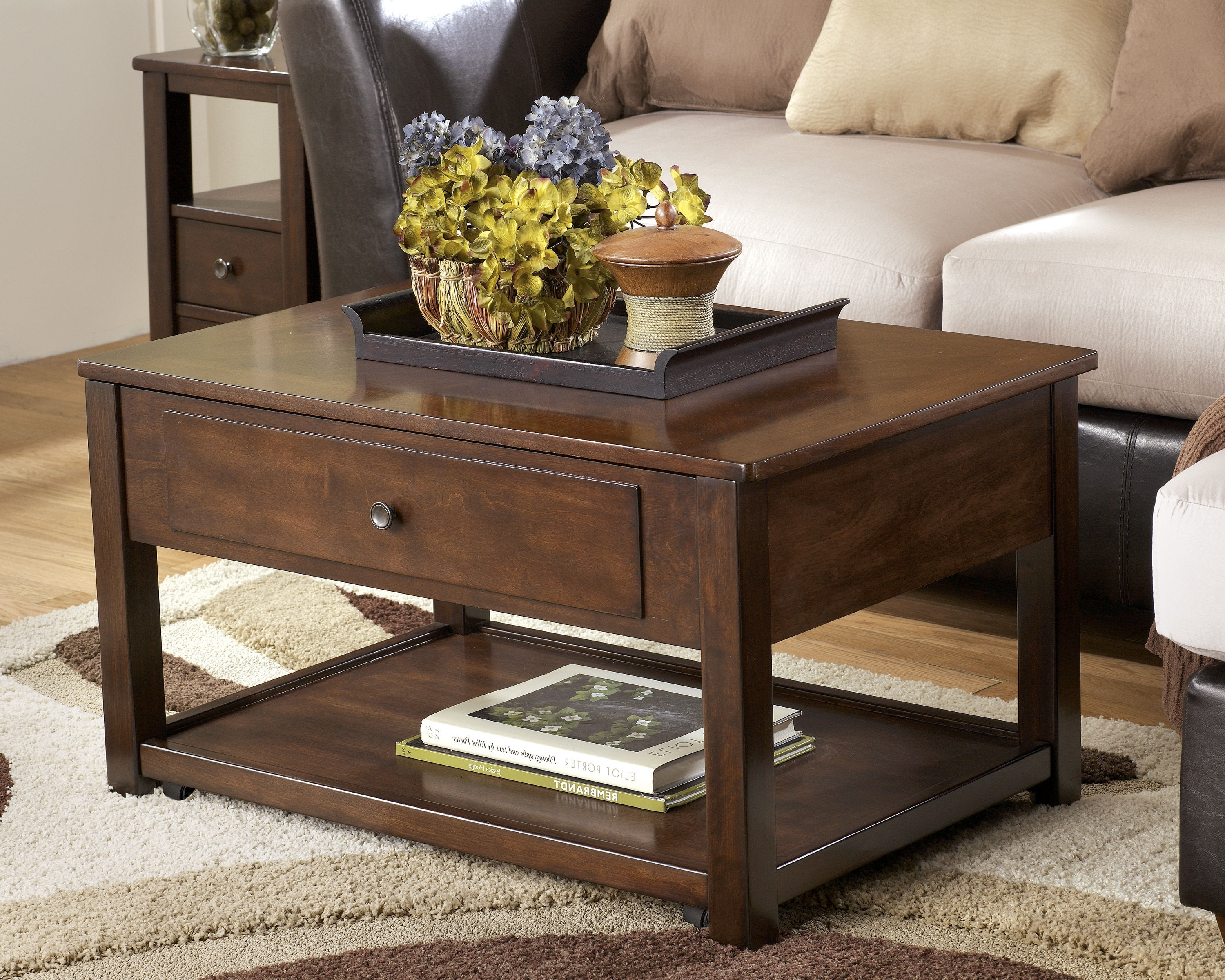 Ashley Furniture Marion Dark Brown Lift Top Cocktail Table (Gallery 7 of 20)
