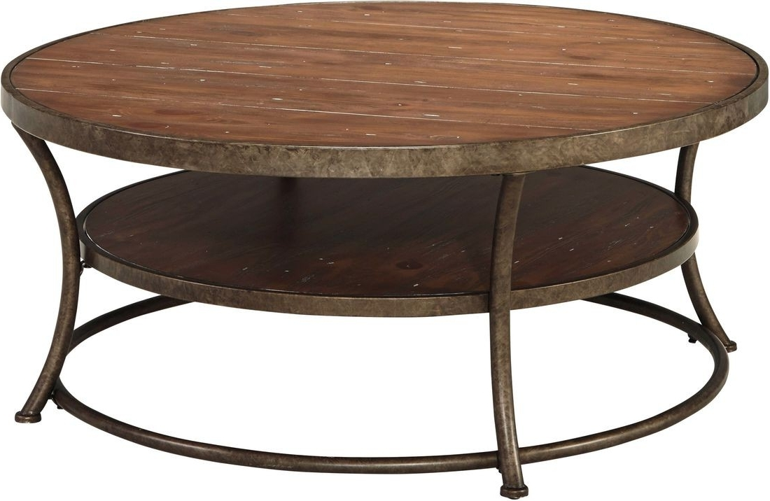 Ashley Furniture Nartina Round Cocktail Table In Light Brown (View 20 of 20)