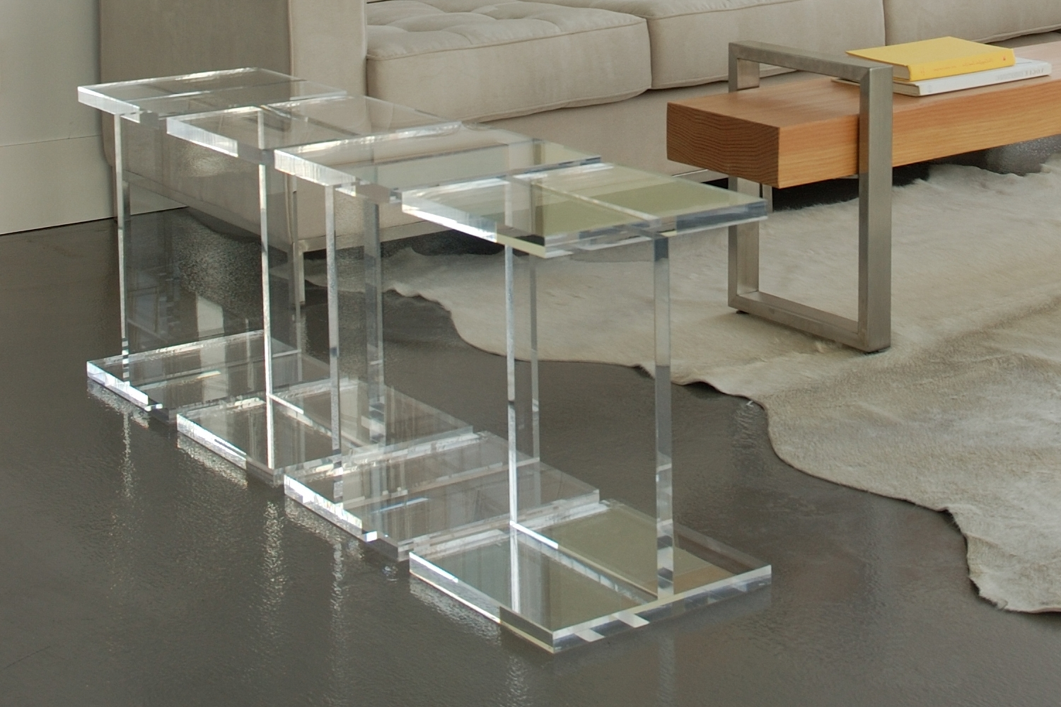 Attractive Design Ideas Of Acrylic Coffee Table With Square Shape Within Well Liked Modern Acrylic Coffee Tables (View 3 of 20)