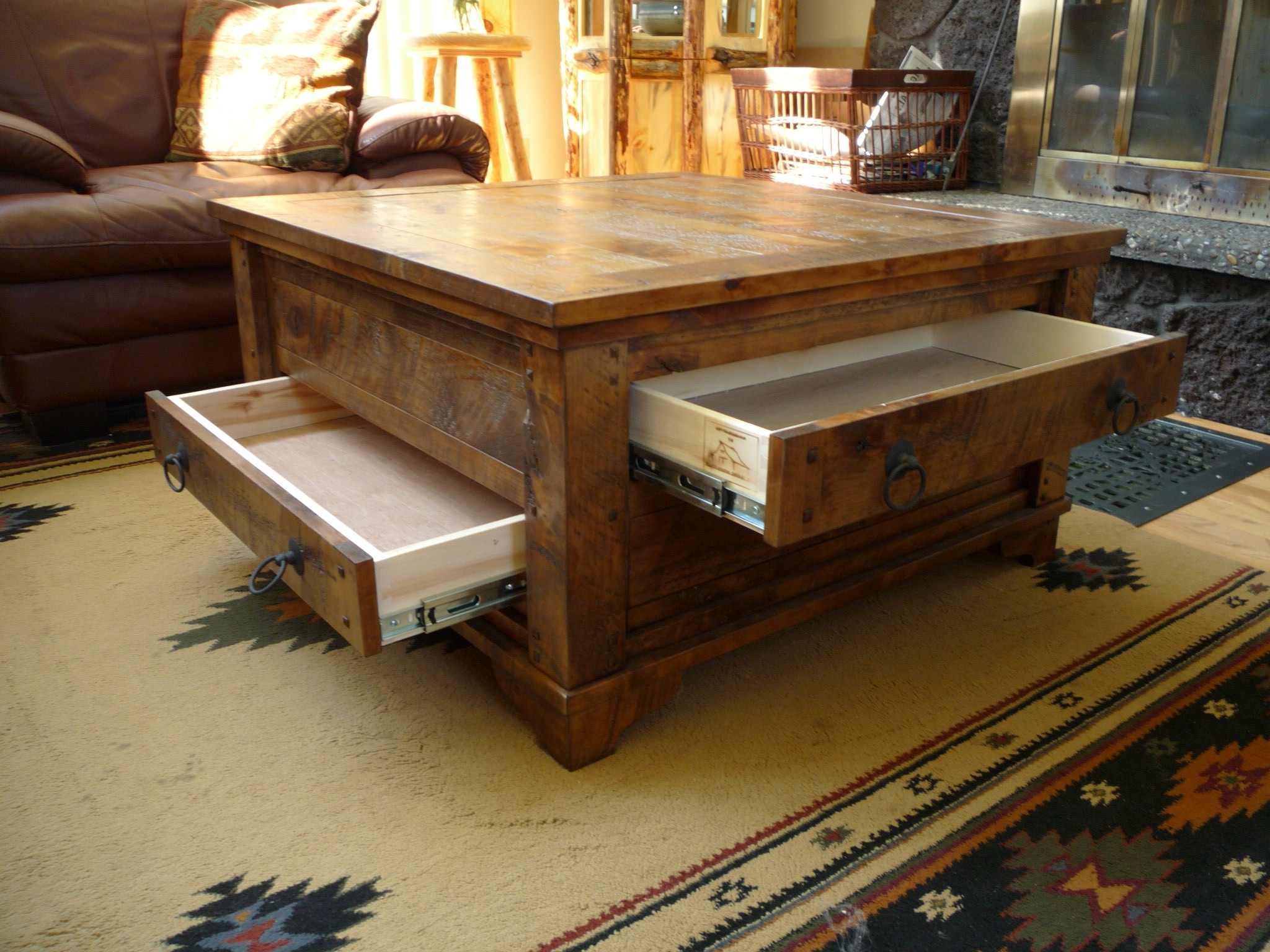 Autumn Comfort Alder 4 Drawer Coffee Table Within Widely Used Walnut 4 Drawer Coffee Tables (View 11 of 20)
