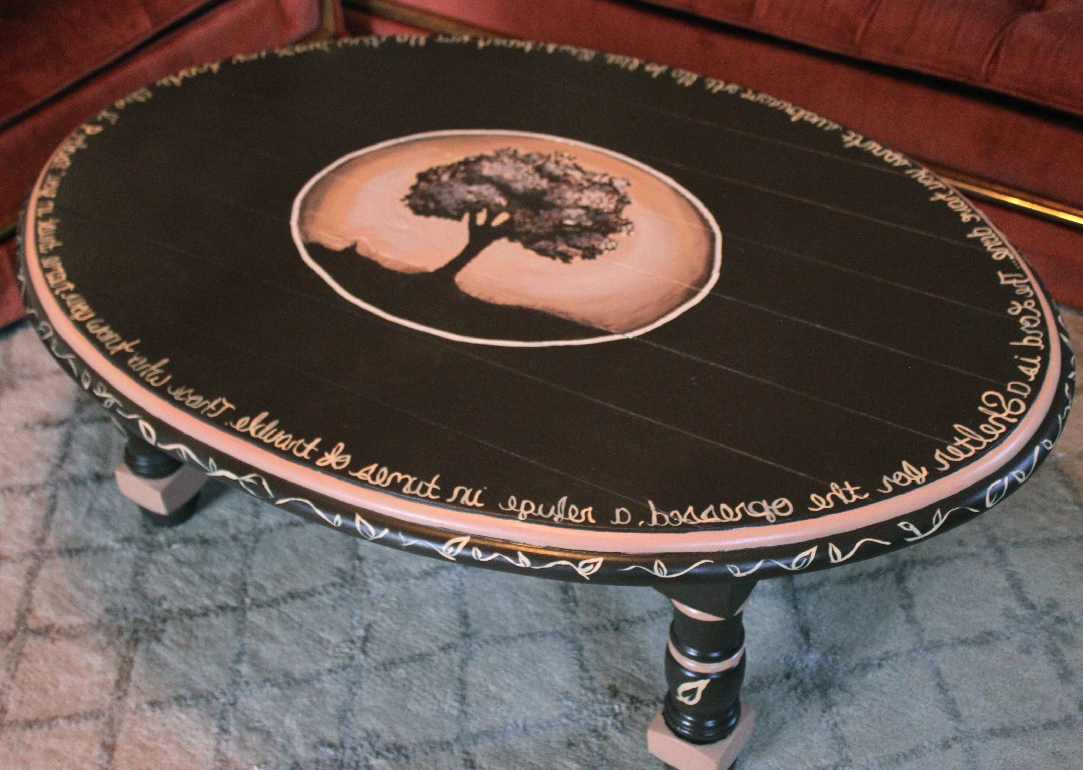 Awesome Oval Wooden Hand Painted Coffee Table Ideas With Brown Base With Regard To Famous Shelter Cocktail Tables (View 16 of 20)
