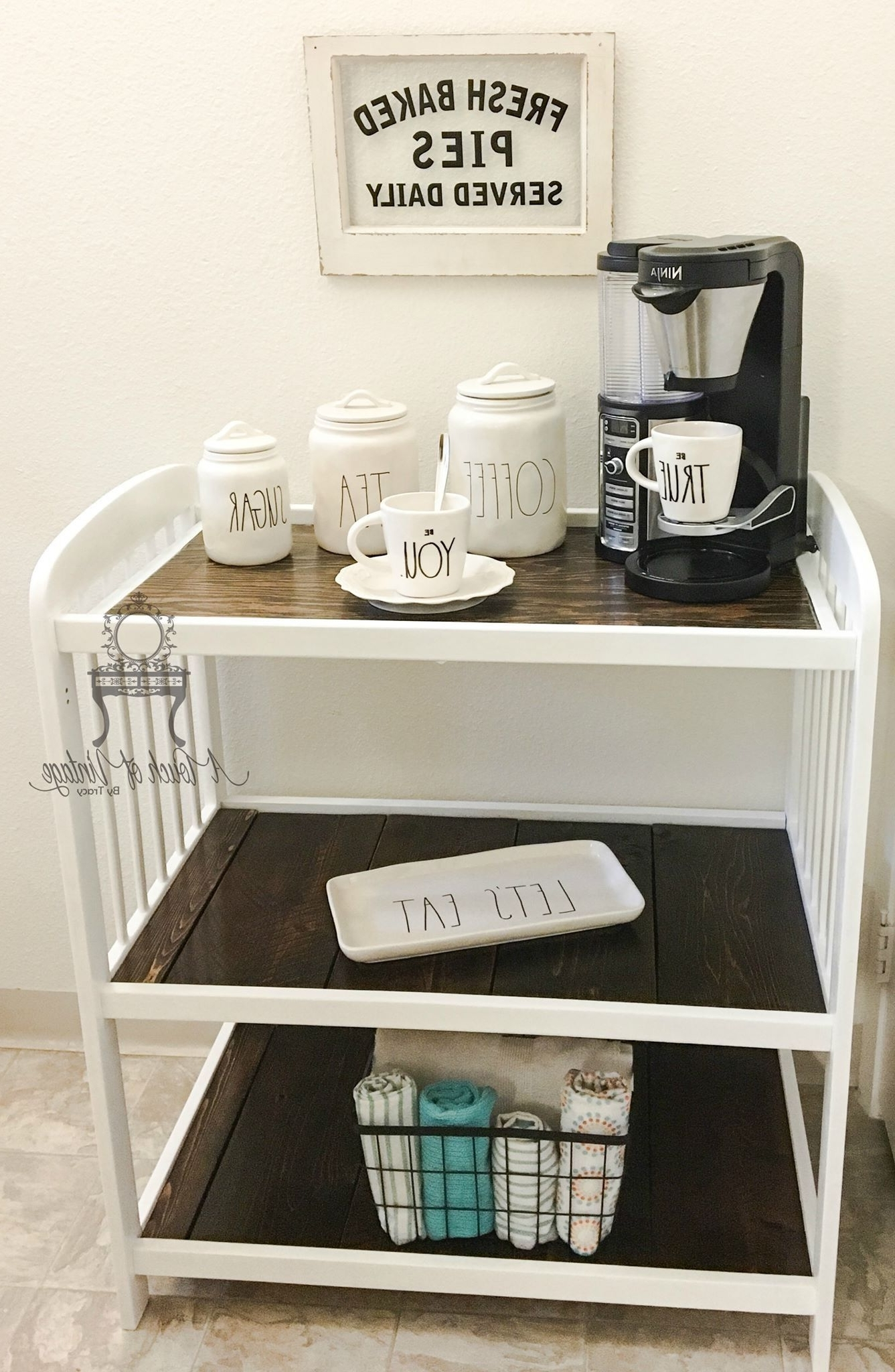 Baby Changing Table Repurposed To A Coffee Bar, Perfect Way To In 2018 Jacen Cocktail Tables (View 3 of 20)