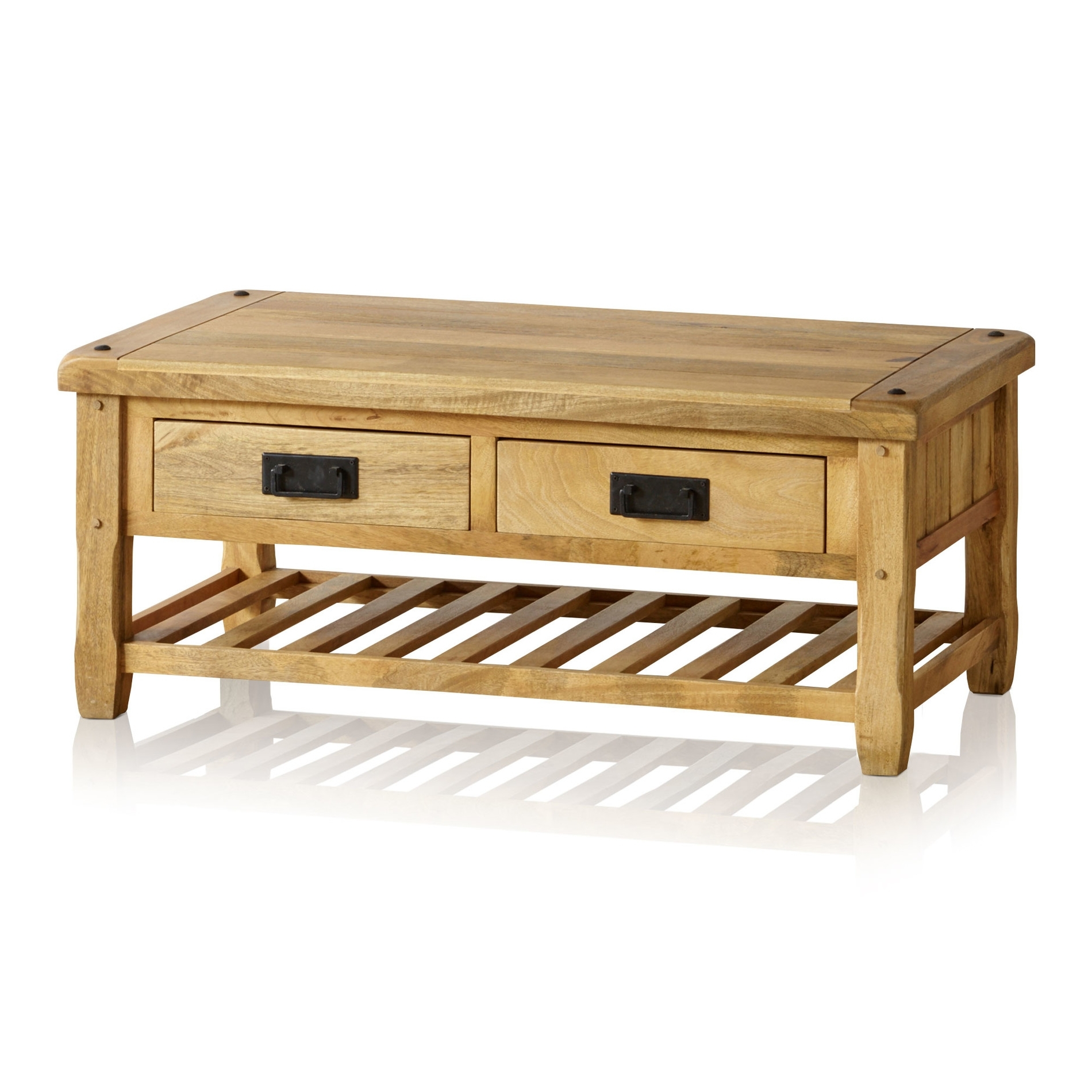 Baku Light Coffee Table With 4 Drawers In Natural Solid Mango In Widely Used Natural 2 Drawer Shutter Coffee Tables (View 1 of 20)
