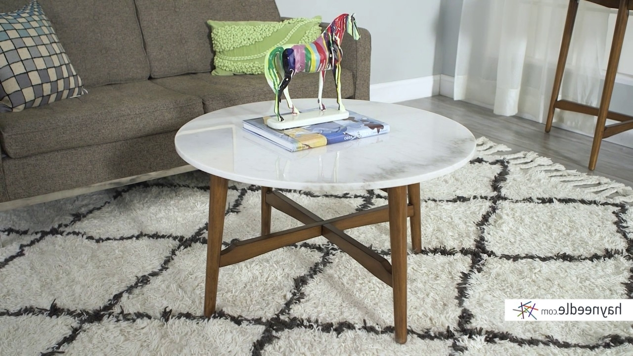 Belham Living James Round Mid Century Modern Marble Coffee Table With Regard To Current Mid Century Modern Marble Coffee Tables (View 3 of 20)