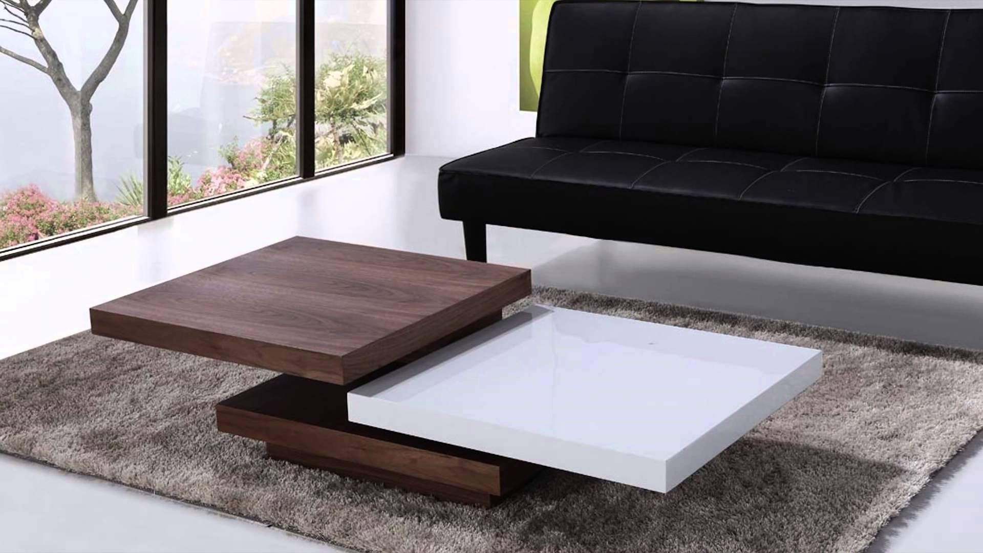 Beliani Coffee Table – Swivel Panels – Walnut And White – Aveiro Inside 2017 Spin Rotating Coffee Tables (View 4 of 20)